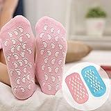 Veewon 2 Paar Feuchtigkeitsspendende Gel-Socken mit Spa-Qualität Gel für feuchtigkeitsspendende Vitamin E und Öl infundiert helfende Reparatur trockene gebrochene Haut und Füllungen Füße, Blau+Rosa