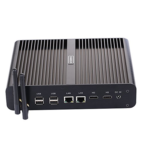 Fanless Mini PC,with Windows 10 Pro/Linux Ubuntu,Intel Core I7 5500U/5550U,(Black),[HUNSN BM02],[64Bit/Dual Band WiFi/2HDMI/4USB3.0/4USB2.0/2LAN/1 Optical/1 SDReader],(16G RAM/256G SSD)