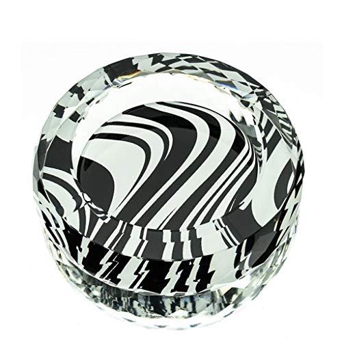 ZTMN Cenicero Que Vale la pena Tener líneas en Blanco y Negro en 3D Estilo de impresión en Color Cristal Redondo Decoración de la Sala de Estar en el hogar (Tamaño: 20 cm)
