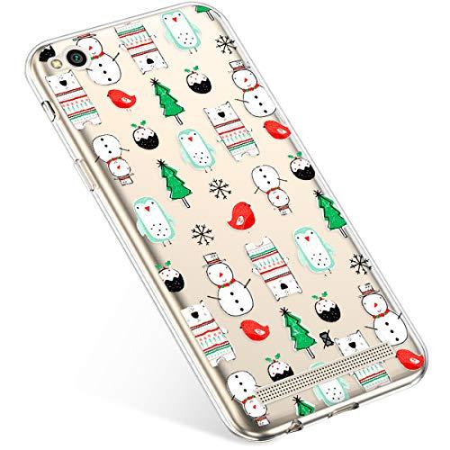 Uposao Coque pour Xiaomi Redmi 5A Etui Silicone TPU Housse Souple Transparente Coque Noël Cerf Flocon de Neige père Noël Sapin de Noël Elk Christmas M