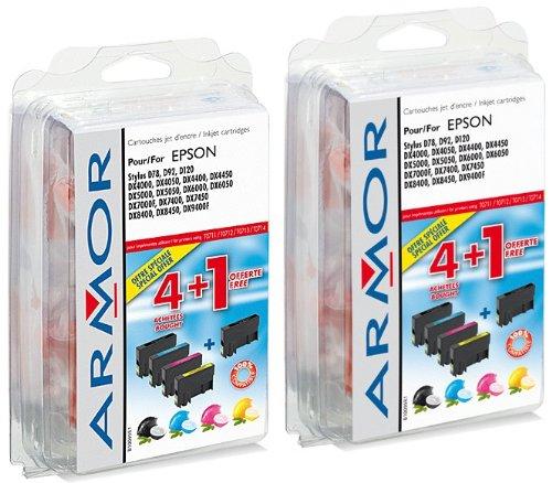 10 x Patronen für Epson Stylus DX 5000 (4xBlack, 2xC, 2xM, 2xY) Perfekte Qualität Armor Druckerpatronen kompatibel für DX5000, je 7, 5ml
