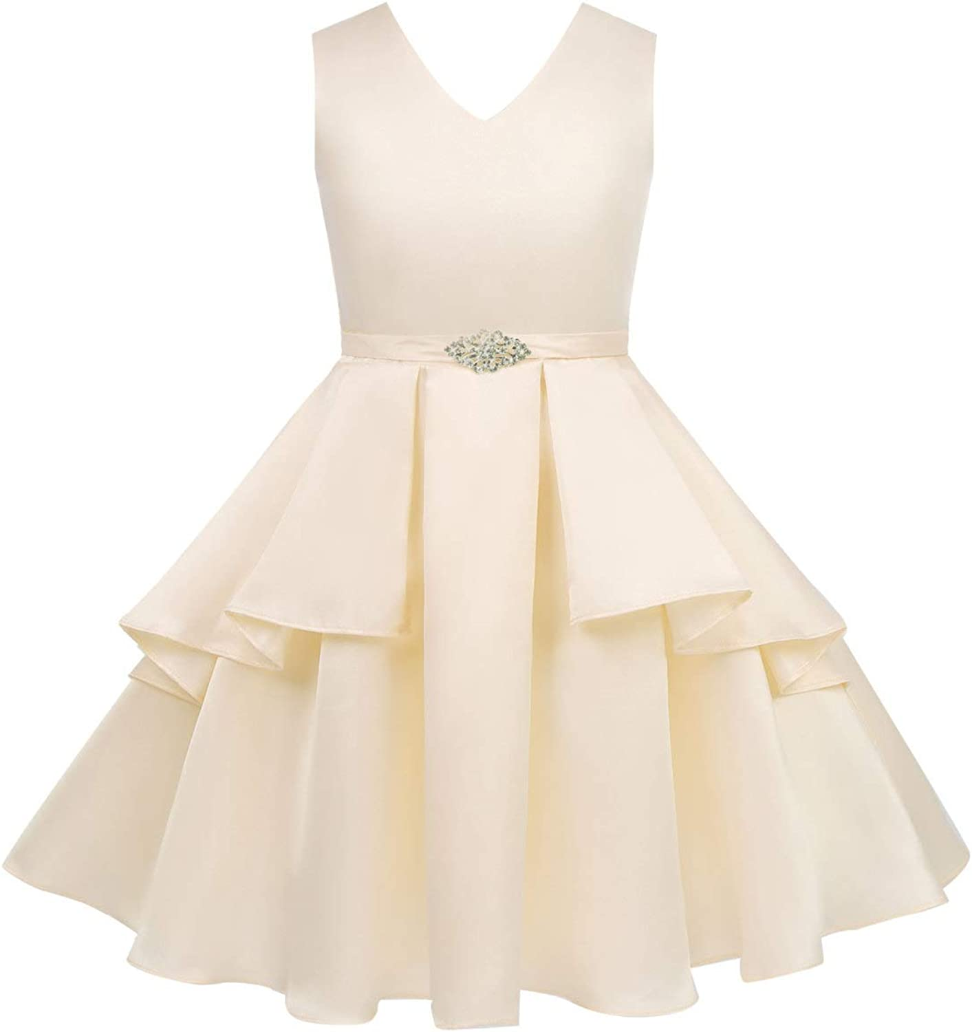 YOOJIA Kids Girls Sleeveless V Neck Satin Special Occasions Dress A-Line Sundress Elegant Evening Party Prom Gown