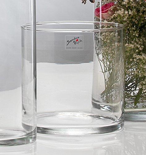 Sandra Rich, vaso di vetro cilindrico trasparente, collezione Cyli, tagliato a caldo, con diametro di 15 cm, Vetro, clear, 15 cm