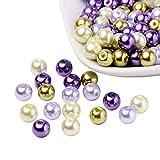 PandaHall Mezcla de Perlas de Vidrio nacarado Perlado Jardin de Lavanda, Color Mezclado,