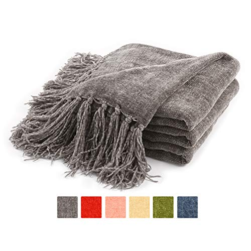 Freshmint Throw Blanket 60 x 50 Inch Thanksgiving Luxury Fluffy Chenille Knitted Blankets with Decorative Fringe and Striped for Home Decor Couch Cover Sofa Bed Gift, Gray