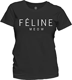 Women's Feline Meow Fashion Tee Celine Paris Parody Cute T-Shirt