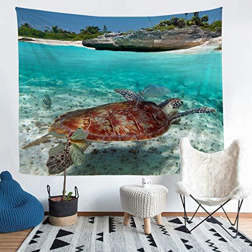 Tapiz de tortugas marinas 3D para colgar en la pared para niños y niñas, vida marina temática océano, tapiz de pared para dormitorio o sala de estar, tamaño mediano 51 x 59 pulgadas