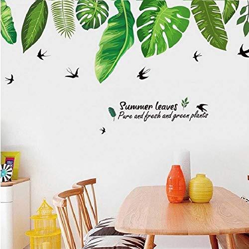 GUDOJK Muursticker Groen Monstera muurstickers voor woonkamer huisdecoratie Pvc achtergrond decal vliegtuig verlaten Deur behang Diy Woonkamer slaapkamer decoratie