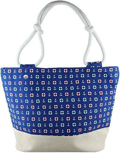 Feelinko Große Strandtasche Marinelook Tasche Beutel Bag Strand Beach Baden blue