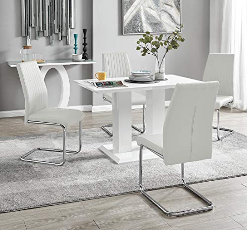 Imperia Modern White High Gloss Dining Table And 4 Lorenzo Chrome Leather Dining Chairs Set (White Table + White Lorenzo Chairs)