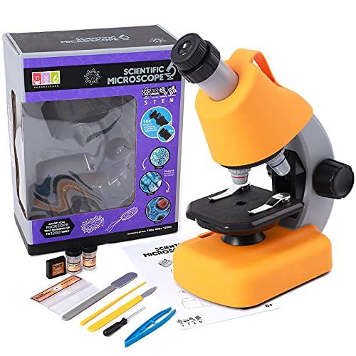 Microscope for Kids,Science Kit for Kids 8-12 Student Beginners,LED 40X-1200x Microscopes with Optical Glass Lenses,STEM Kit Educational Kit for Boys Girls 6-15
