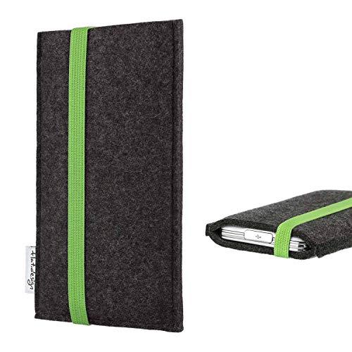 flat.design vegane Handy Tasche Coimbra kompatibel mit Huawei P20 Pro Single-SIM - Schutz Hülle Tasche Filz vegan fair grün