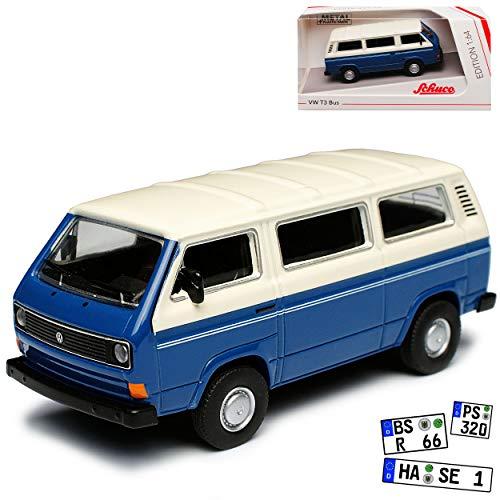 Volkwagen T3 Bus Personen Transporter Blau mit Weiss 1979-1992 1/64 Schuco Modell Auto mit individiuellem Wunschkennzeichen