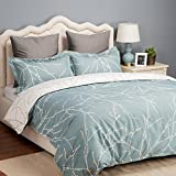 Bedsure Printed Duvet Cover Set Queen Size Teal/White - Pattern Comforter Cover with Zipper Closure 3 Pieces (1 Duvet Cover + 2 Pillow Shams, 90x90 inches)