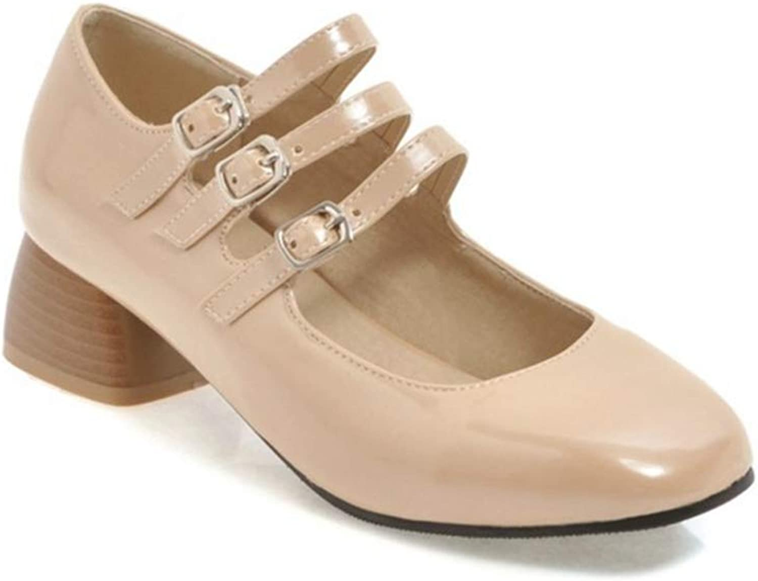 GIY Women's Classic Mary Jane Oxford shoes Retro Square Toe Buckle Strap Mid Heel Dress Pump Loafer shoes