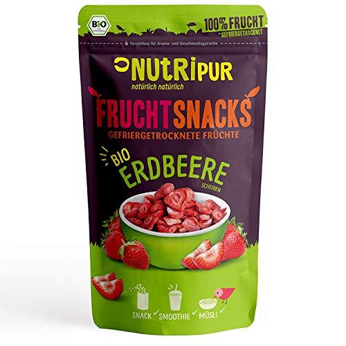 BIO Erdbeeren gefriergetrocknet 70g I Getrocknete Erdbeeren Stücke ohne Zucker I 100% Frucht, voller Geschmack