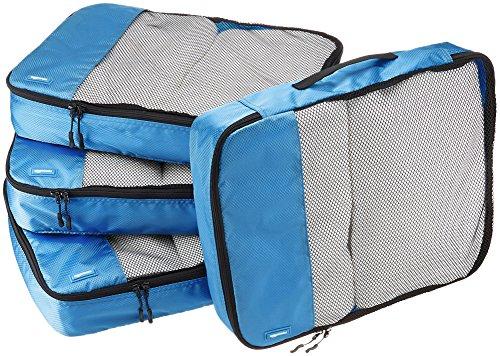 AmazonBasics Große Kleidertaschen, 4 Stück, Blau