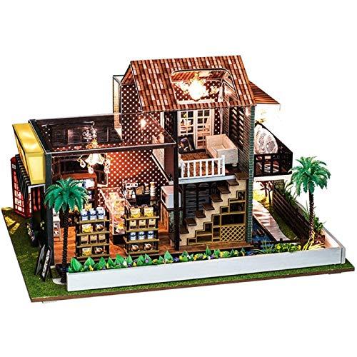 ZHANG Kit de Casa de Muñecas en Miniatura, Kit de Casa con Muebles de Casa de Muñecas, Cafetería de Madera, Cumpleaños para Amantes de La Artesanía