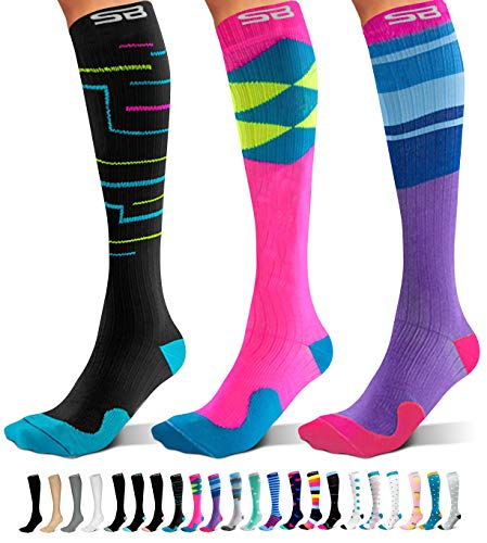 SB SOX 3-Pair Compression Socks (15-20mmHg) for Men & Women – Great Quality Comfortable Socks, Easy to Put On – Best Socks for Daily/Any Use, Running, Nurse, Travel (06 – Multi-color, Large/X-Large)