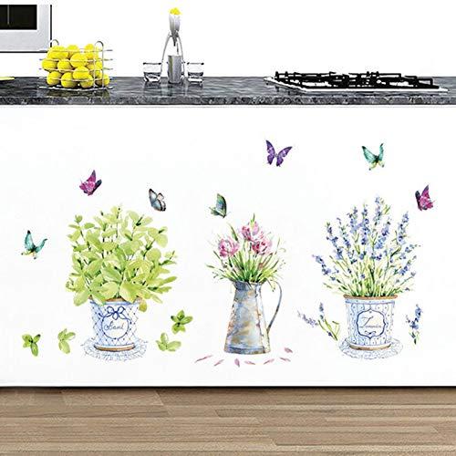 VIOYO 1 UNIDS Romántico Verde Mariposa Flores Florero Vinilo Arte de la...