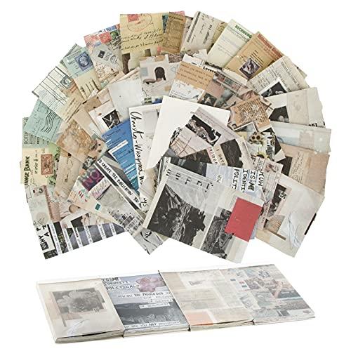 BETESSIN 200 Blätter Scrapbooking Papier Vintage Dekopapier Motivpapier Basteln für Bullet Journal Zubehör Tagebuch Sammelalbum Fotoalbum Kalender