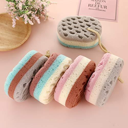 5 Pack Soft Bath Sponge Gentle Soothing Body Sponge Natural Fiber Exfoliating Shower Sponge,Cleaning Loofahs Body Scrubber Sponge for Kids Women Men,Oval Shape (5)