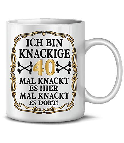 Golebros Ich Bin Knackige 40 Tasse Becher Kaffeebecher Kaffeetasse Geburtstag Geschenk zum Geburtstagsgeschenk für geburtstagsdeko Deko Happy Birthday Artikel Ideen Frau Mann