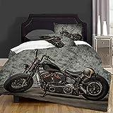 not Piumone-la Biancheria da Letto,Harley Motorcycle Cool Davidson Vintage Bike Chopper Classic,Microfibre, Piumino 1 Trapunta 140×200CM e 2 federe 50×80CM