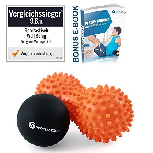 """Sportastisch Massageball Set """"Well Being"""", Faszienball Kombination aus genoppten Duoball & Lacrosse Ball für Fuß Rücken & Nacken, GRATIS E-Book & bis zu 3 Jahren Garantie für Vergleichssieger*"""