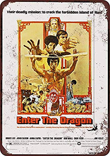1973 Bruce Lee Enter the Dragon Metall Blechschild Retro Metall gemalt Kunst Poster Dekoration Plaque Warnung Bar Cafe Garage Party Game Room Hauptdekoration