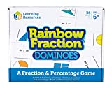 Learning Resources- Fichas de Dominó con Fracciones Rainbow Fraction, Color, Talla Única (LSP2503-UK)