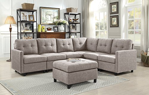 DAZONE Modular Sectional Sofa Assemble 7-Piece Modular Sectional Sofas Bundle Set with Cushions, Easy to Assemble for Left & Right Arm Chair,Armless Chair, Corner Chair,Ottomans Table Grey Sofa