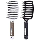 Boar Bristle Hair Brush, Natural Hair Brush Vent Hair Brush for Long, Thick, Thin, Curly & Tangled Hair Women & Men(2Pcs)