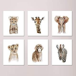 Safari Nursery Print Set of 6 Prints, African Baby Animal Watercolors: Lion, Giraffe, Elephant, Zebra, Monkey, Cheetah - Selection of Alternate Animals and Sizes available