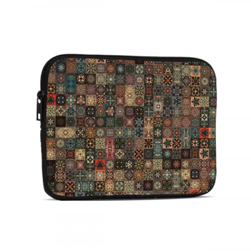 Bolsas para portátil Antiguo Mandala Floral Estilo Tribal iPad Airbag Compatible con iPad 7,9/9,7 Pulgadas Funda Protectora de Neopreno a Prueba de Golpes con Cremallera y asa con Correa