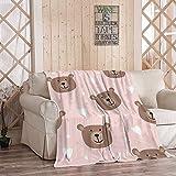 EATRAY Cute Bear Flannel Fleece Throw Blanket, Cartoon Teddy Bear Heart on Pink Soft Warm Sherpa Blanket Lightweight Cozy for Bed Couch Bedroom 40 Inch x 50 Inch