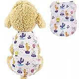 XIAOTAO Bonita Ropa para Perros Chaleco Verano Cachorro Gato Camiseta sin Mangas Traje Cactus/Conejo/Flamenco/Huevos Estampado Chaleco Camisas para Perro pequeño Regalo-S