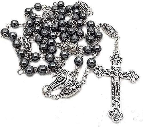 YOUZYHG co.,ltd Collar de Mujer de Alto Grado 6mm Collar de Cuentas de Rosario de Piedra de hematita con Cruz de Jesús Colgante Largo encantos joyería de oración católica