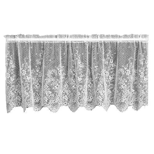 """Heritage Lace Floret 60-Inch Wide by 30-Inch Drop Tier, White, 60""""x24"""", Ecru"""
