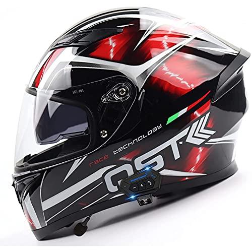 Casco Abatible Delantero para Motocicleta con Bluetooth,Doble Visera Cascos Integrales,Ligero,Para Motocicleta,Casco Modular Contra Choques,Aprobado por ECE/DOT C,XXL=63~64CM