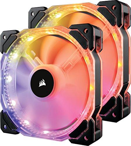 Corsair HD140 RGB LED PWM PC-Gehäuselüfter mit Controller und Hub (140mm, Double Pack) schwarz