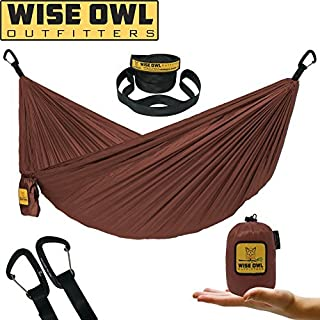 Wise Owl Outfitters Ultralight Camping Hammock with Tree Straps - Feather Light Lightweight Compact Durable Ripstop Parachute Nylon Hammocks - Outdoor Travel Backpacking Hiking