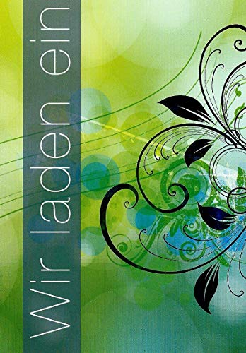 Einladungskarten mit Innentext Motiv Grün Wir laden ein 10 Klappkarten DIN A6 mit weißen Umschlägen im Set Einladung für jeden Anlass Hochzeit Geburtstag Taufe Kommunion Konfirmation Jugendweihe K17