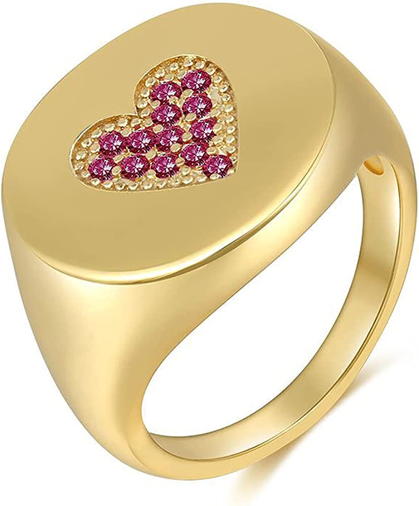 CZ Love Heart Promise Engagement Statement Ring for Women Girls 18K Gold Plated Pink Crystal Diamond Inlaid Chunky Wide Band Finger Rings Comfort Fit Dainty Cute Wedding Birthday Anniversary Jewelry Gifts for Her Size 8