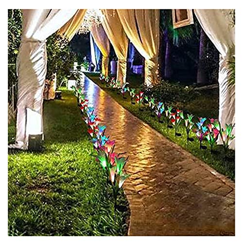 Fiore Solare Luces Solares Al Aire Libre De La Flor, Pila Solar Impermeable De La Flor del Césped, para La Celebración De Días Festivos(Color:Rojo)