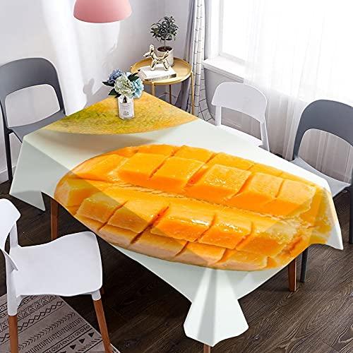 Mantel de café Impermeable con patrón de Mango 3D, Mantel Lavable Rectangular, Utilizado en la Cocina del hogar, Comedor al Aire Libre M-16 140x180cm