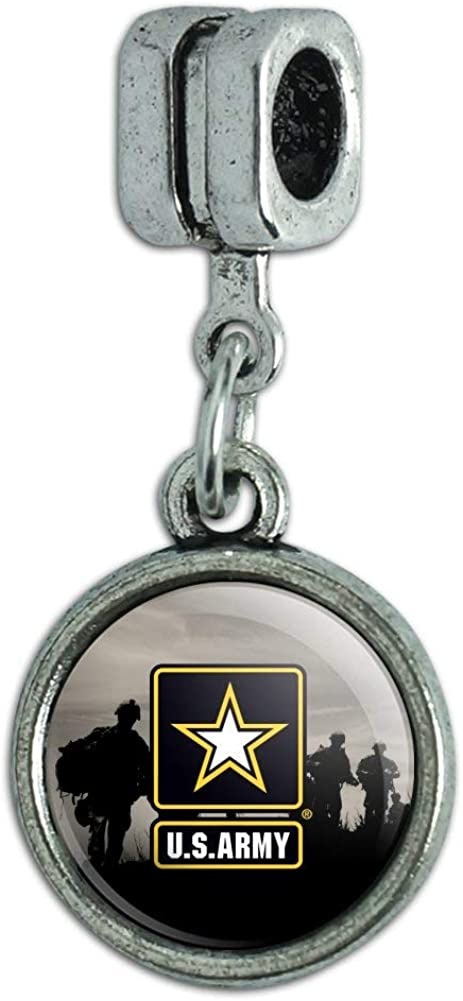 GRAPHICS & MORE U.S. Army Logo with Soldier Silhouettes Italian European Style Bracelet Charm Bead