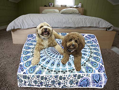 Cojín de suelo indio con cojín otomano para cama, cuadrado, mandala, meditación india, grande, 35 pulgadas, decoración de estilo hippie