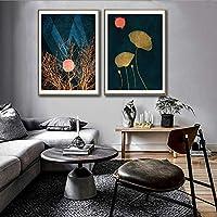 抽象的な黄金の葉植物ムーンシャインピクチャーウォールポスターモダンキャンバスプリント絵画アートリビングルームユニークな装飾-42x60cmx2個フレームなし