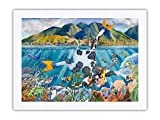 Pacifica Island Art Day Off from The Dairy - Vaca hawaiana (Bipi Wahine) - De una pintura de acuarela original hawaiana de Peggy Chun - Tela Dupioni 100% seda pura impresión de 45,7 x 60,9 cm